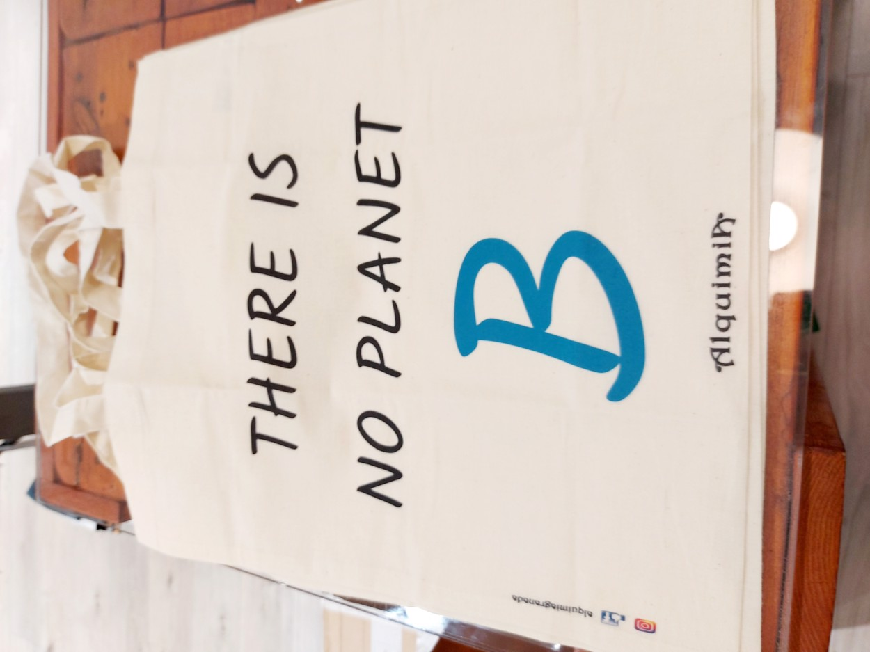 """Tienda especializada en las mejores marcas de Ropa Ética, Sostenible y de algodón orgánico en Granada y Jaén. SKFK, Skunkfunk, PAN Producto BásicoBOLSA """"THERE IS NO PLANET B"""""""